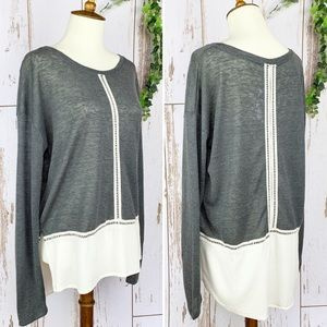 Entro NWOT Gray & Cream Lace Loose Fit Long Sleeve